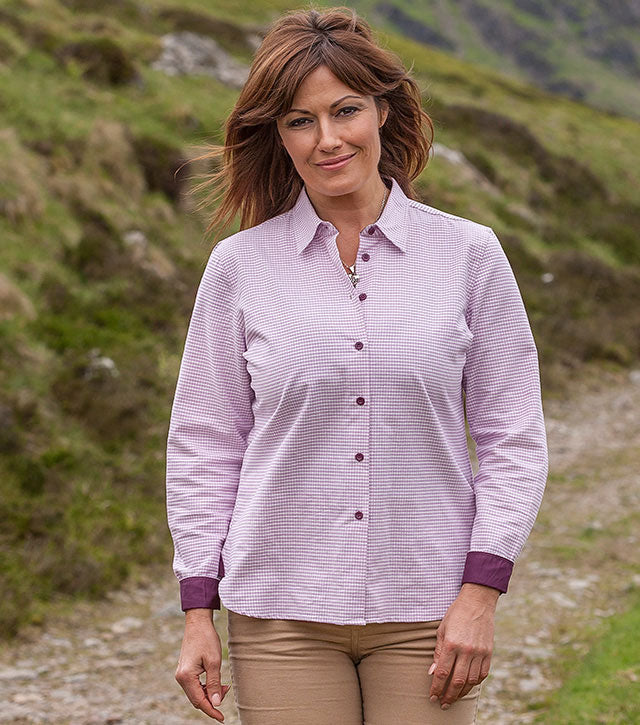 A delightful feminine check shirt in quality pure cotton.