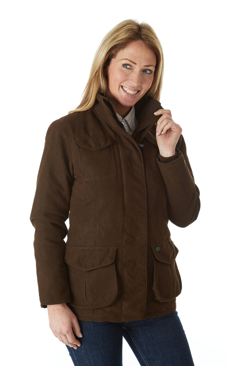 lady showing collar Sherwood Forest Hampton Waterproof Jacket