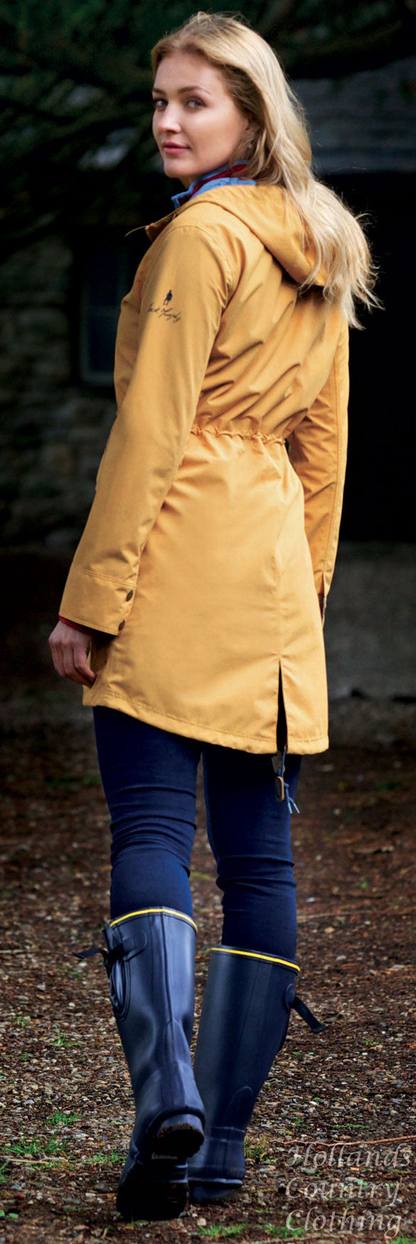 lady wearing Jack Murphy Wicklow Rubber Wellington. Three colours, Olive, Navy and Blackberry