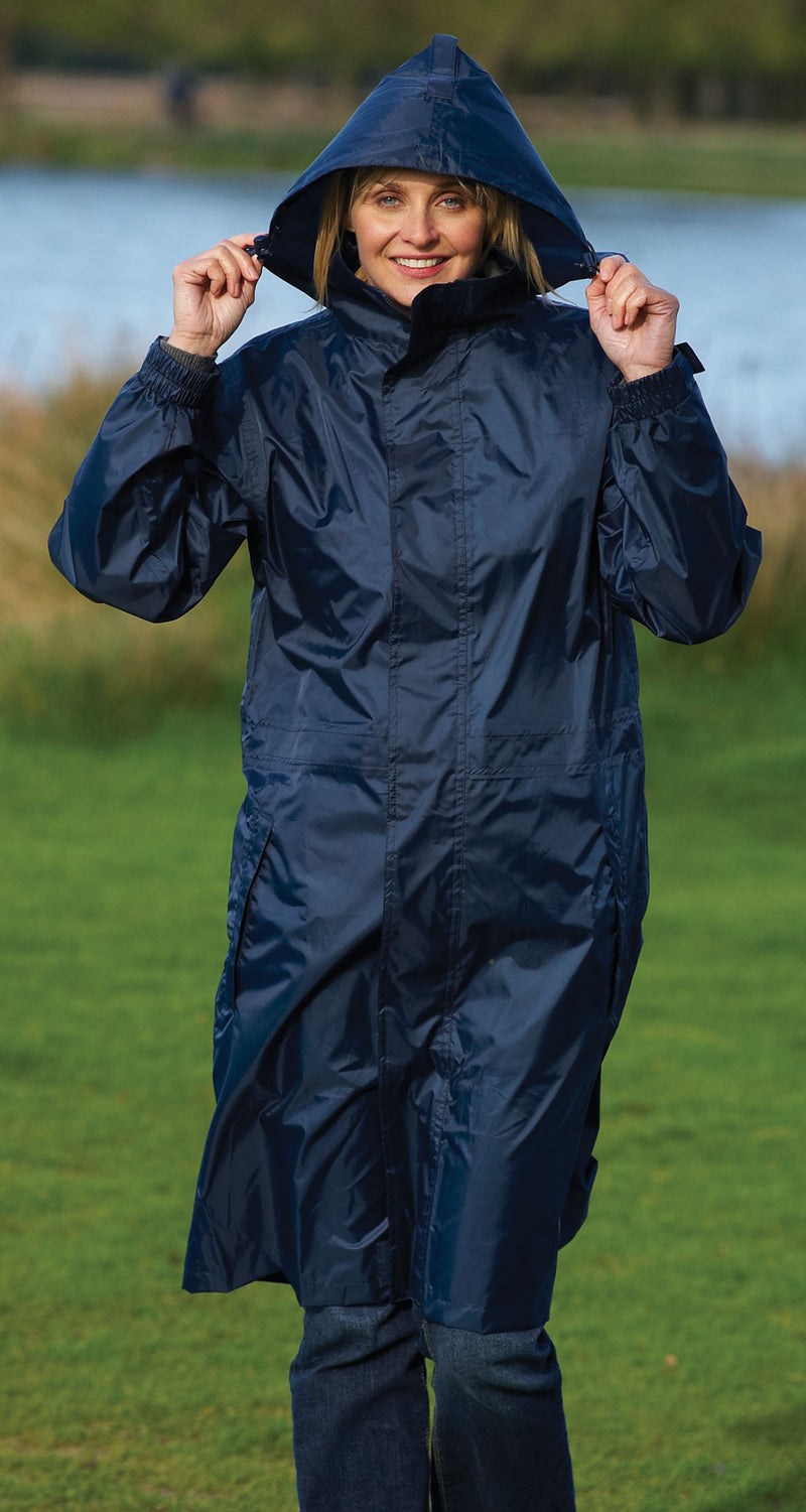 storm waterproof with hood on lady