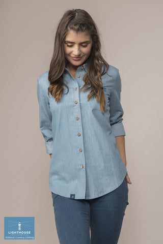 scoop front pale blue denim shirt