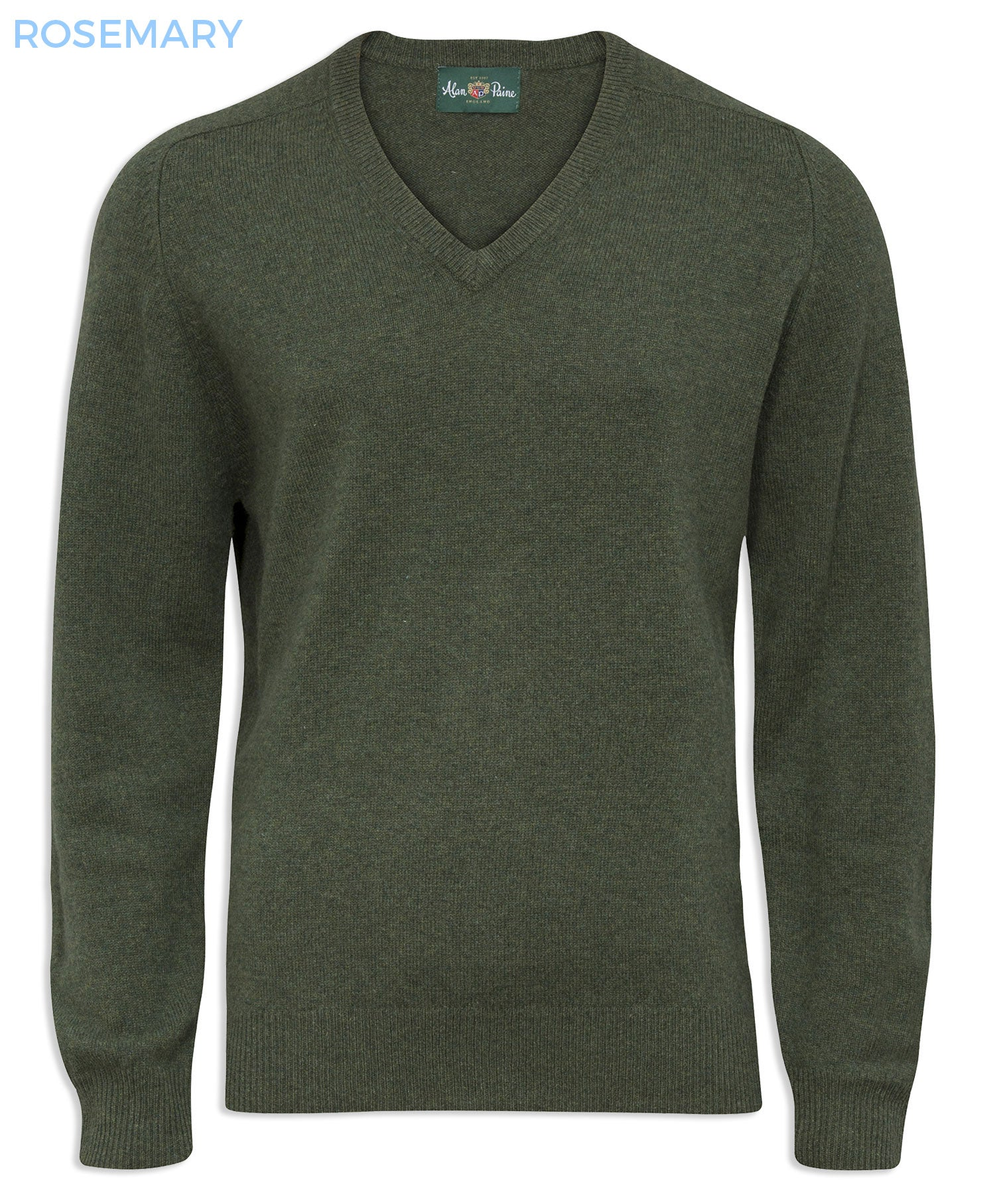 rosemary green Alan Paine Burford Vee Neck Pullover