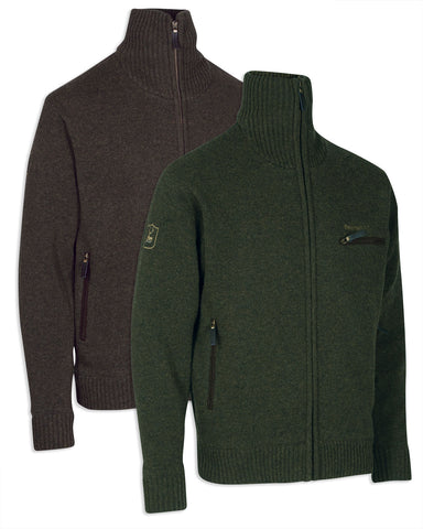 Deerhunter Kendal Lambswool Full Zip Cardigan in Green and Dark Elm