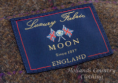 label for  tweed supplied by Moon and Sons of Leeds, Yorkshire Suppliers of fine traditionally produced tweed since 1837