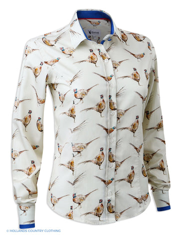 Hartwell Layla Cotton Shirt | Cream Pheasants