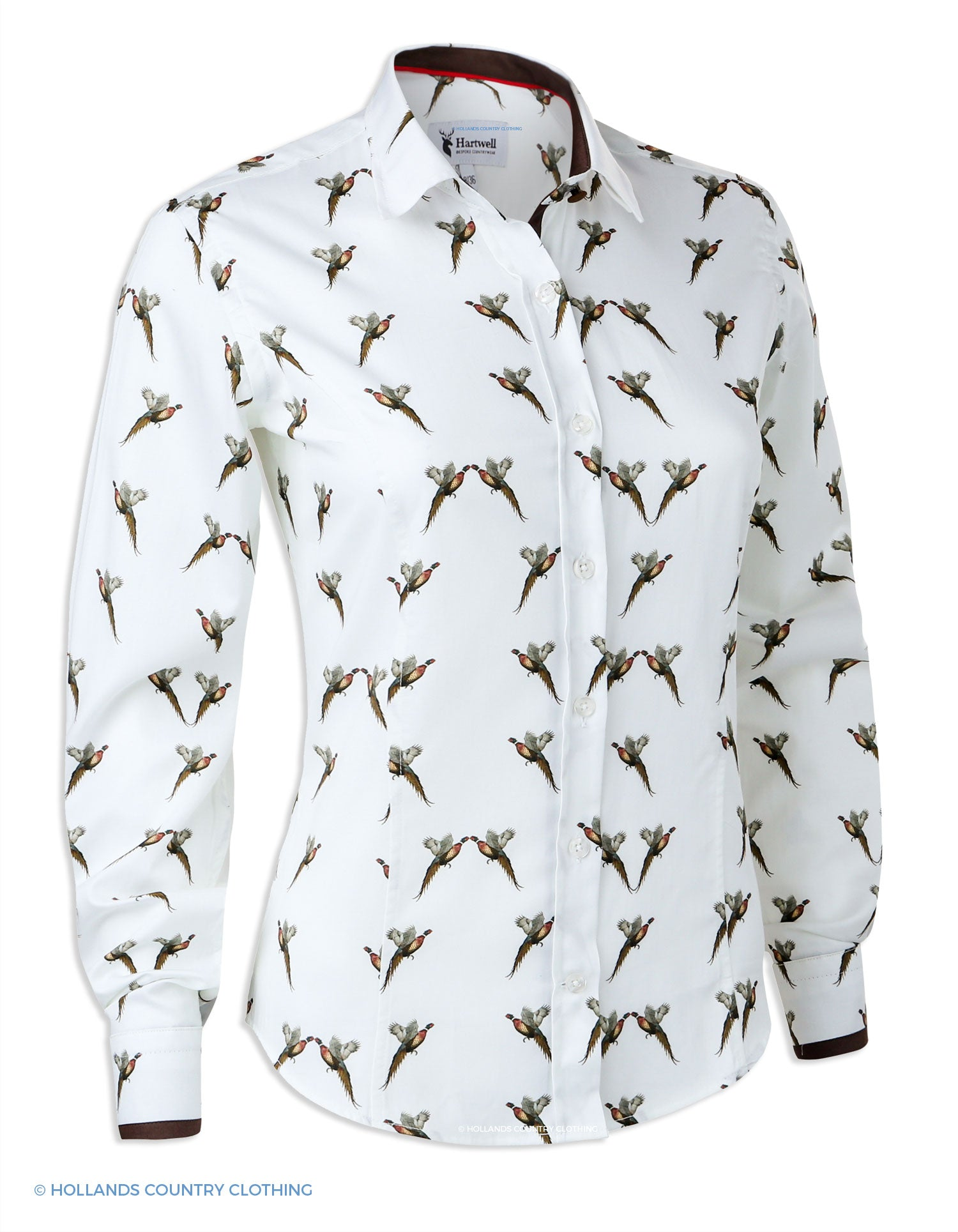 Hartwell Layla Cotton Shirt | Flying Pheasants with white background