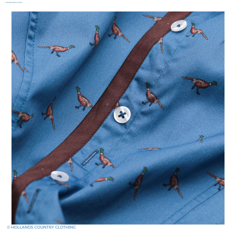 chocolate trim Hartwell Layla Cotton Shirt | Blue with Pheasants