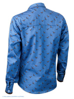 Rear view, Hartwell Layla Cotton Shirt | Blue with Pheasants