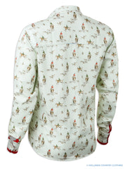 Ladies shirt with fox hunting scenes decoration