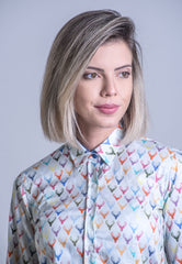 this pure cotton shirt features a rainbow of colourful Stag's heads