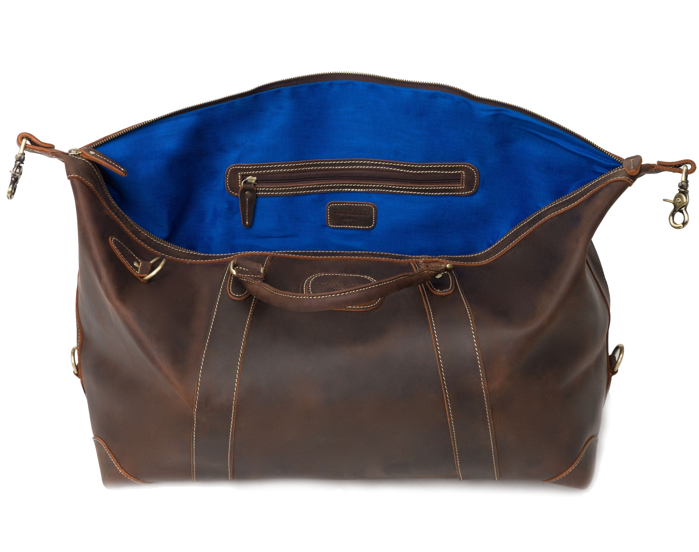 blue lining The Alexander Ultra Soft Leather Holdall by Val Blanco