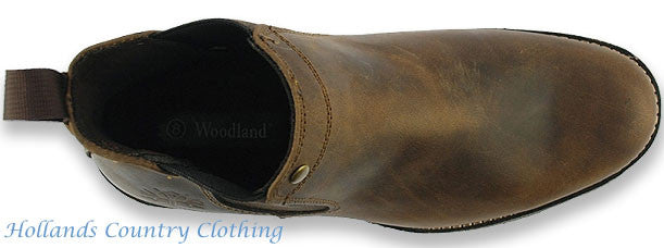 top view Woodland Crazy Horse Leather Chelsea Pull On Boot