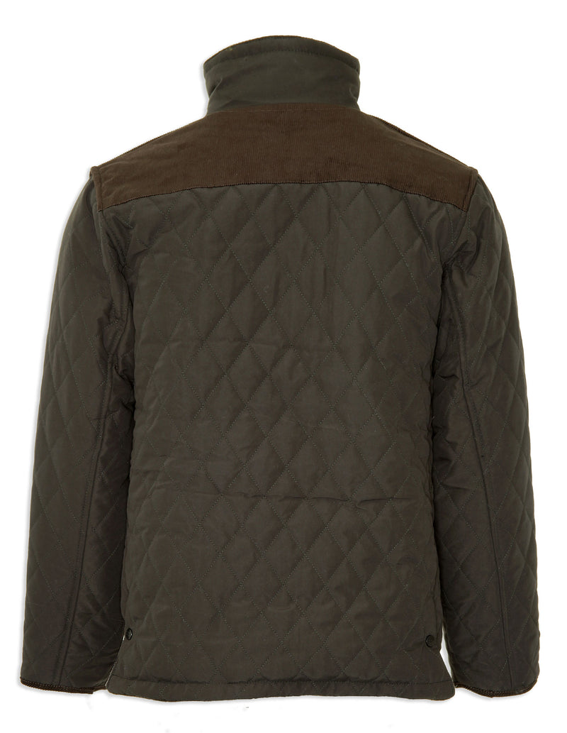 Diamond quilted jacket with cord shoulder back view