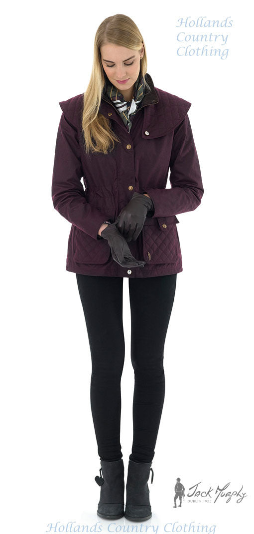 jack murphy ladies waxed cotton coat in claret