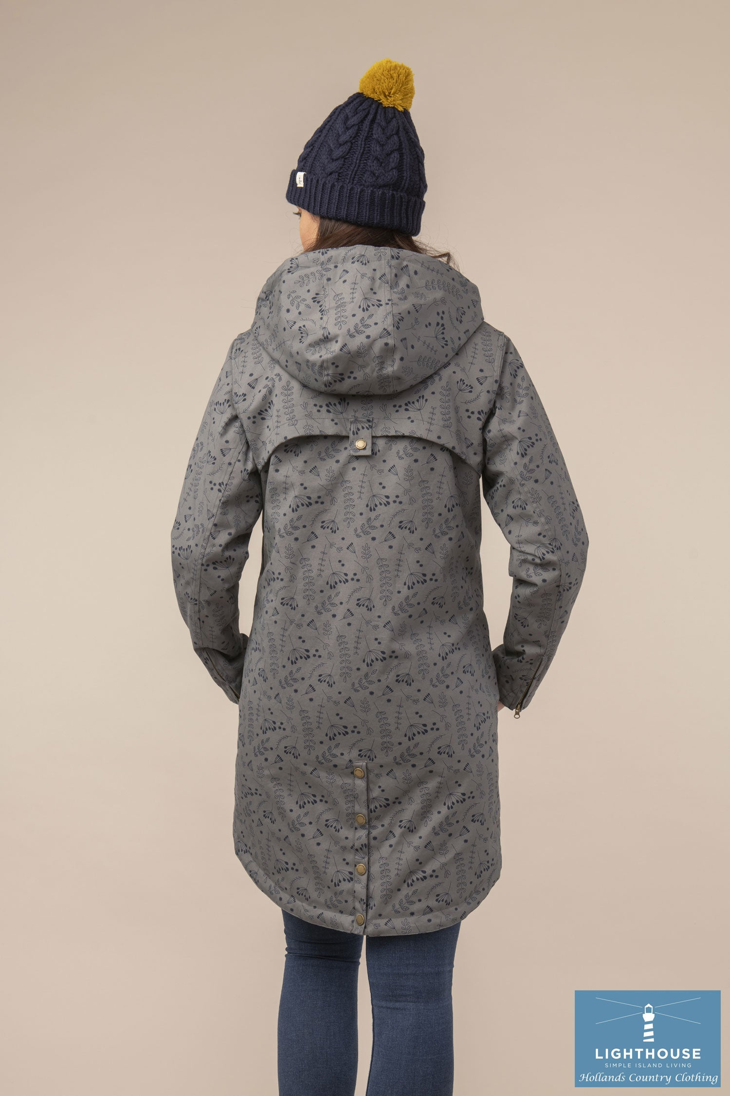 Back View showing tail Alanna Quilted Waterproof Coat by Lighthouse