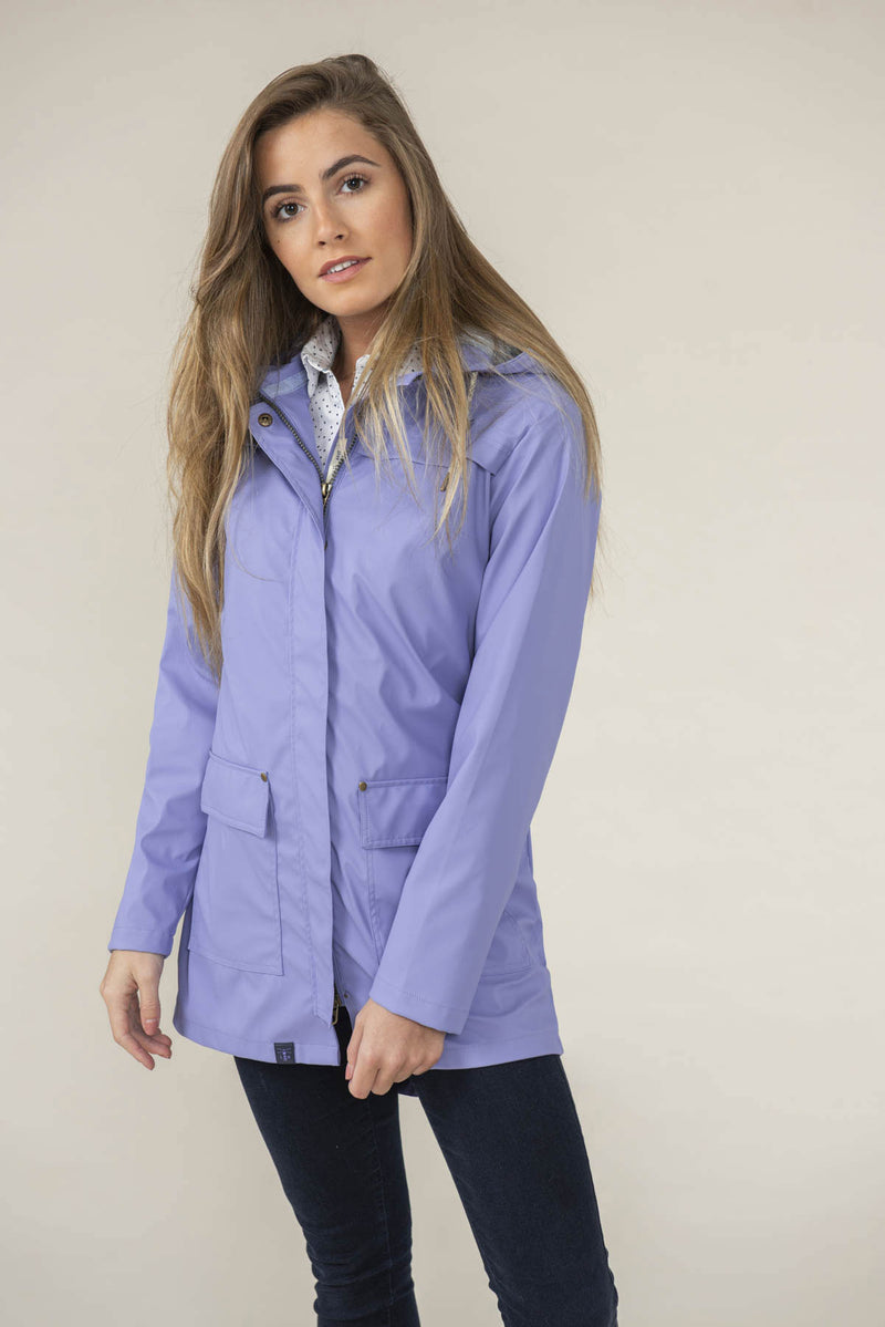 Woman wearing in lilac Lighthouse Bowline Rubberised Jacket SS19