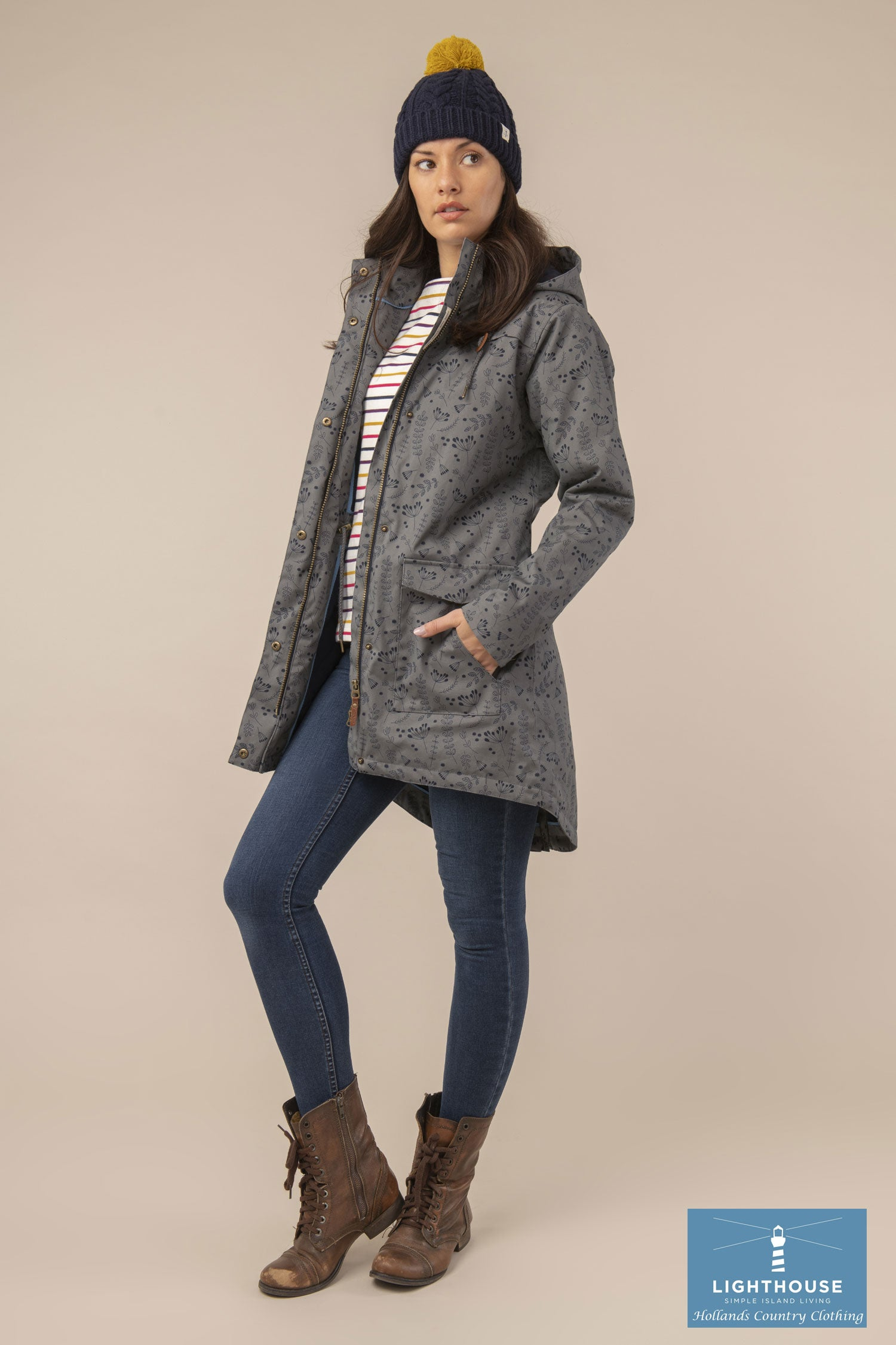 lady wearing Alanna Quilted Waterproof Coat by Lighthouse