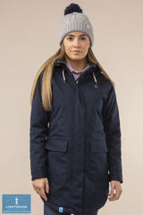 Woman wearing Alanna Quilted Waterproof Coat by Lighthouse