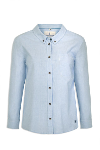 Oxford stripe Ocean Ladies Pure Cotton Shirt by Lighthouse