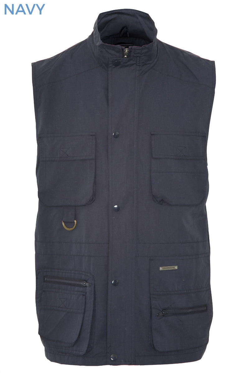 navy with collar up Windermere Lightweight Multi-Pocket Waistcoat