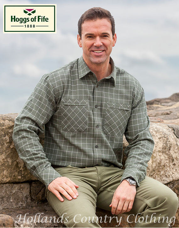 man wearing tartan Pine All Cotton Luxury Hunting Shirt by Hoggs of Fife.