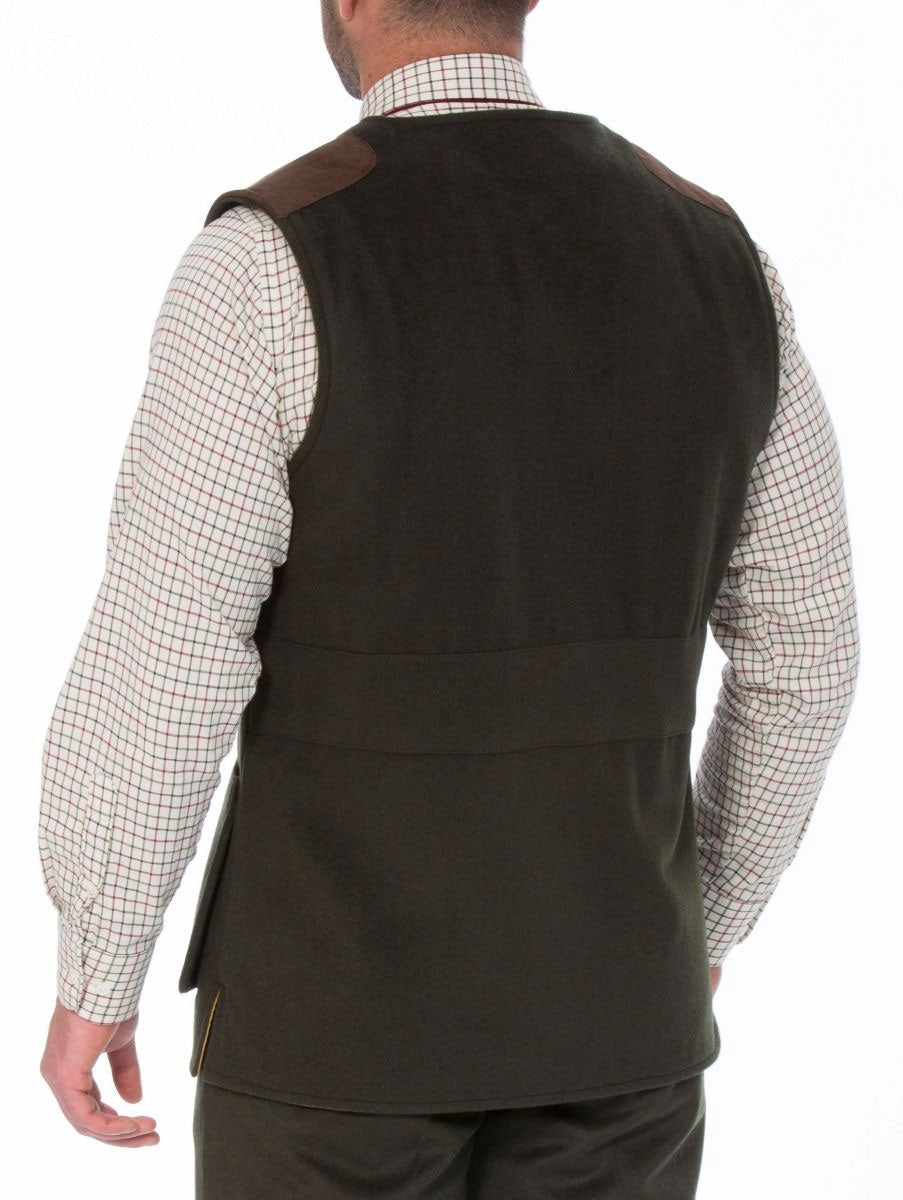 rear view Loden Wool Shooting Gilet Vest by Alan Paine