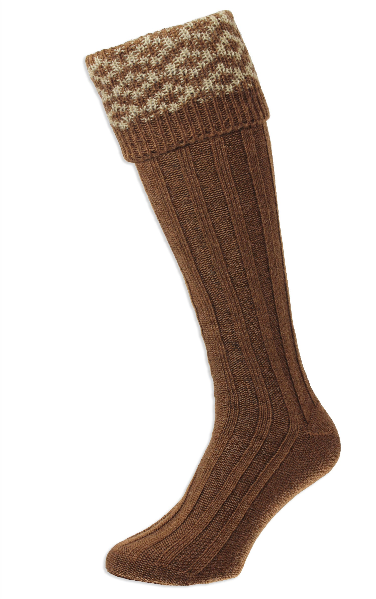 Conker HJ Hall Cushion Foot Long Sock | Patterned Top