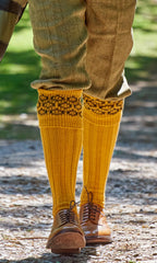 walking in mustard knee length socks