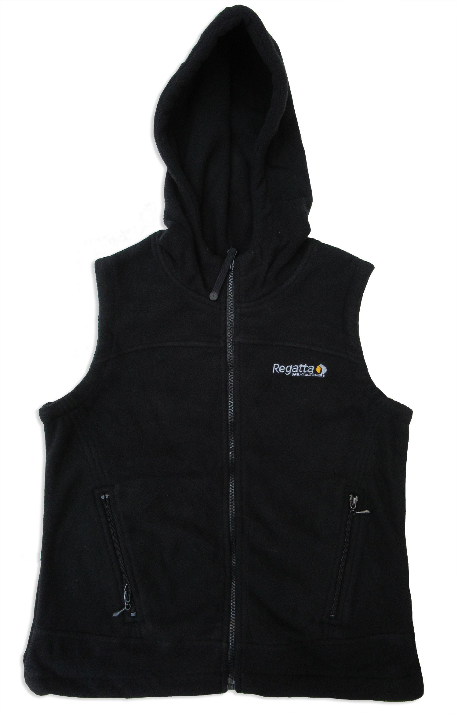 black hooded fleece gilet