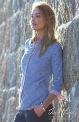 Lady wears cool blue chambray shirt for Spring - Summer from Jack Murphy