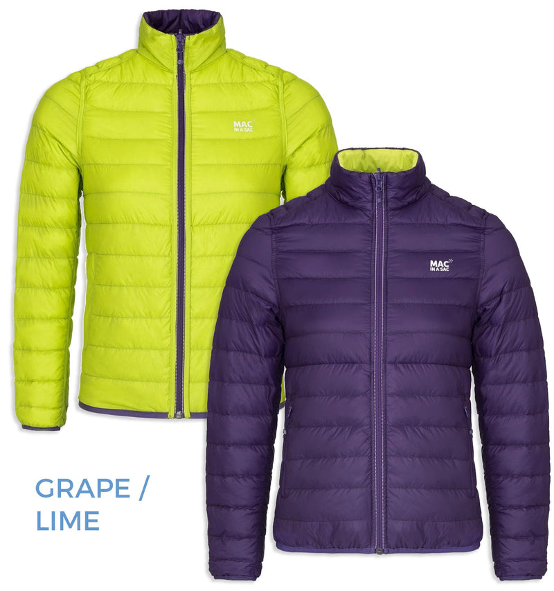 grape colour Mac in a Sac - Ladies Reversible Polar Packable Down Jacket