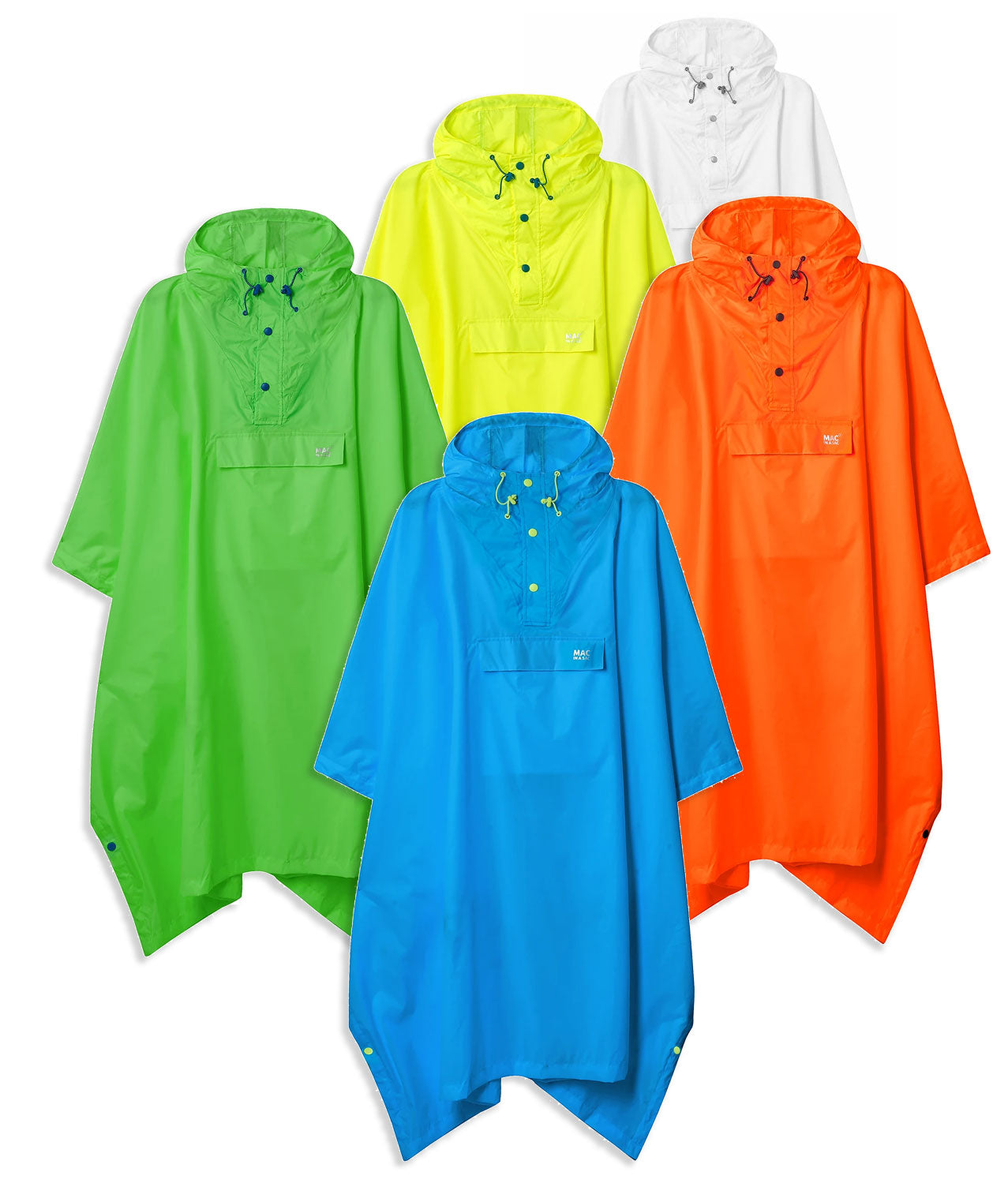 Mac In A Sac Waterproof Poncho | Neon Orange, Yellow, Green, Blue, Transparent