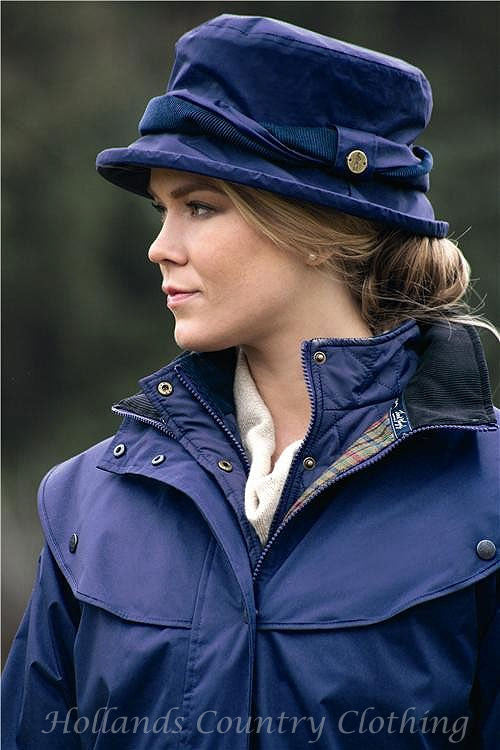Lady wearing  Jack Murphy Malvern Heritage Rain Hat. Eight Great Colours