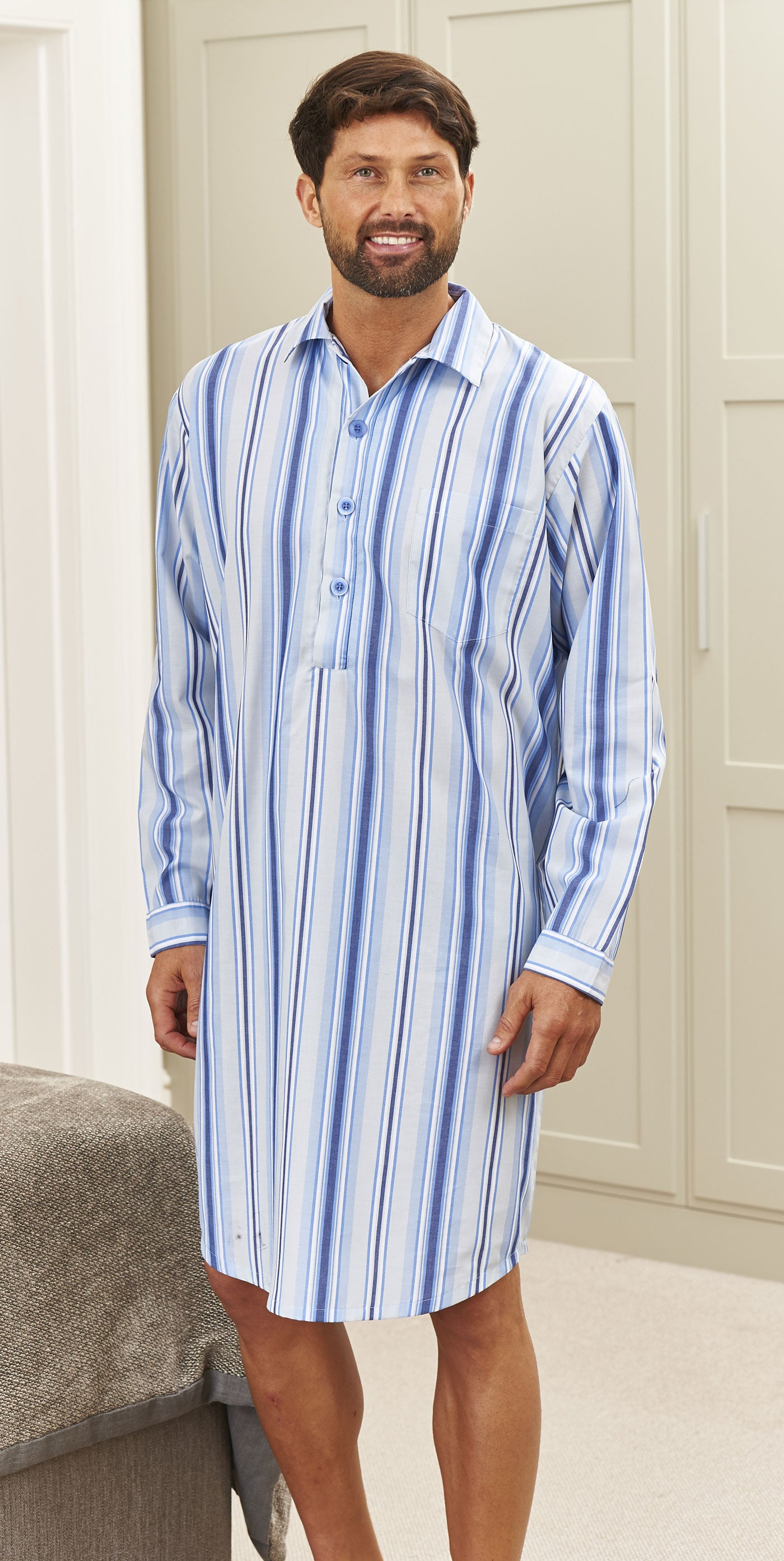Mens Champion Westminster Stripe Nightshirt Sleepwear Sleepwear Dark-Blue XL