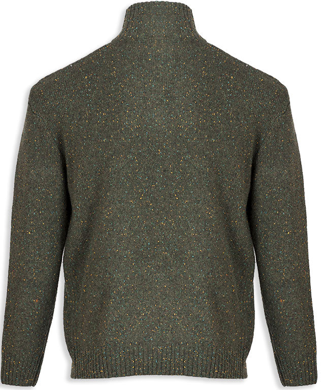 rear view Aran Woollen Mills Troyer Zip-neck Knit Pullover
