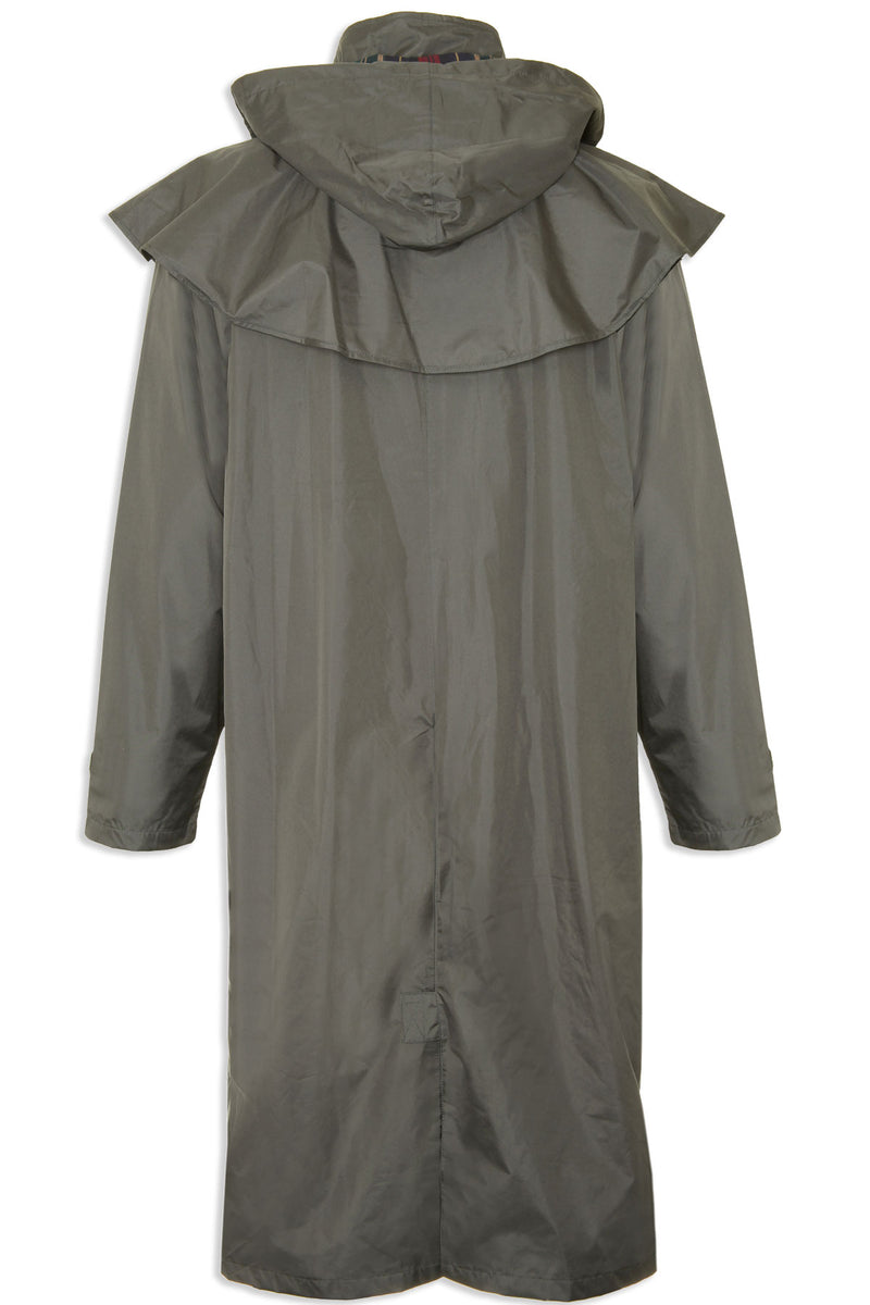 rear view showing hood for highgrove waterproof coat