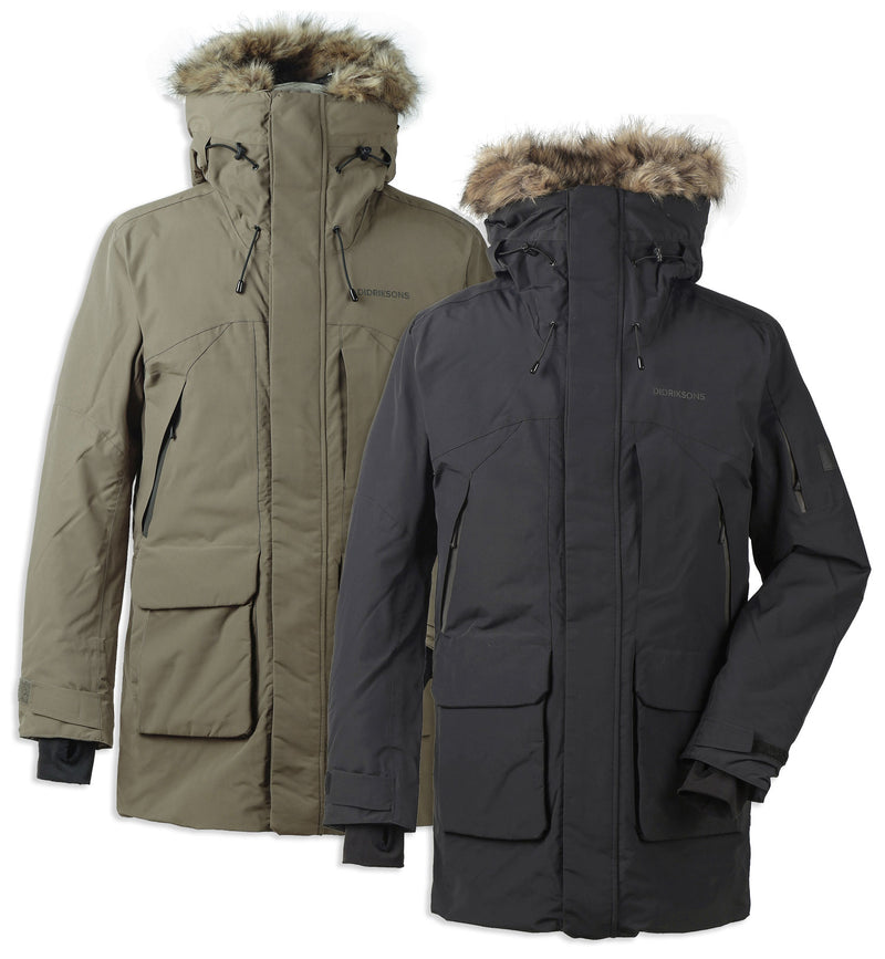 Didriksons Marcel Padded Waterproof Parka in Green and Black