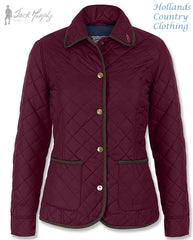 Jack Murphy Margaret Ladies Diamond Quilted Jacket aubergine