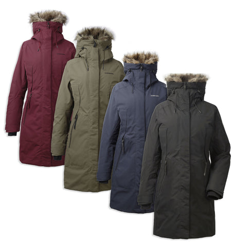 Didriksons Mea Padded Waterproof Parka i n Black, Anenom Red, Crocodile Green, Dark Night Blue