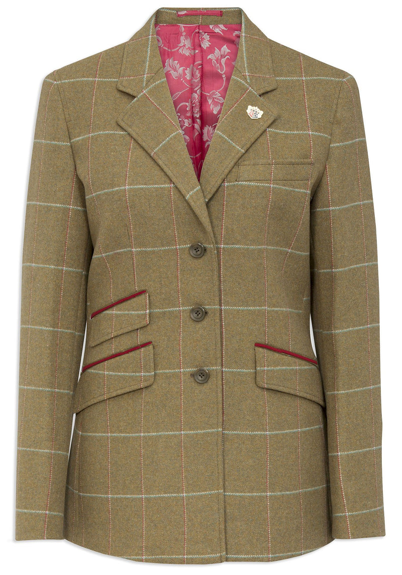 Alan Paine Combrook Tweed Blazer | Meadow with red pocket trim