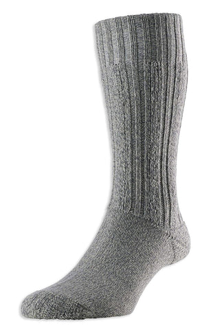 HJ Hall Merino Wool Boot SockGrey Marl
