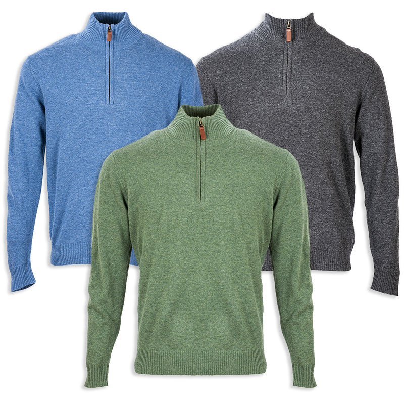 Aran Merino Wool Zip Neck Sweater in Blue, Green, Grey