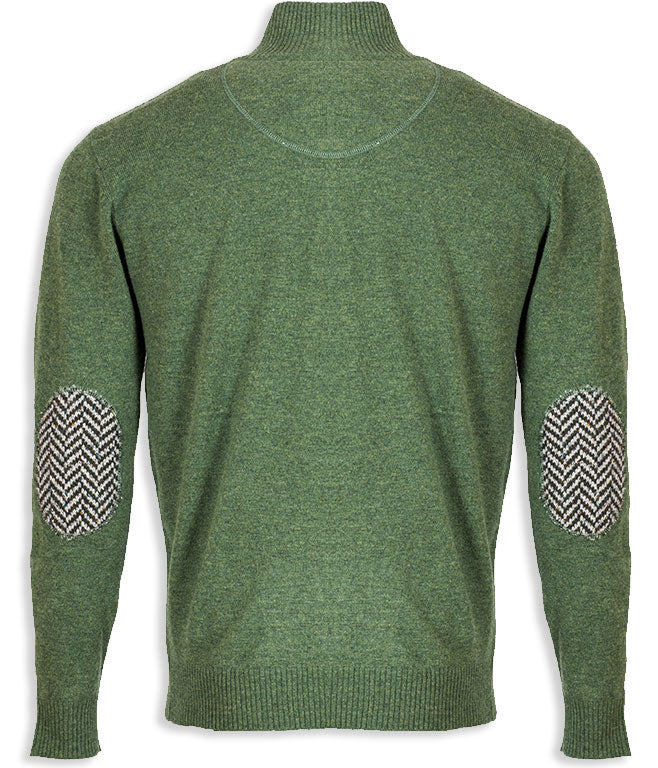 rear view Aran Merino Wool Zip Neck Sweater green