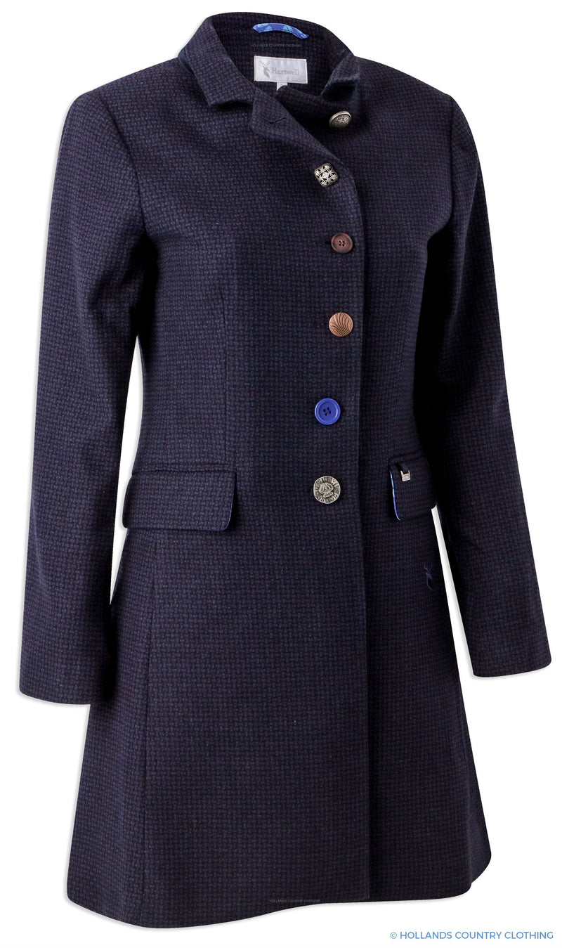 Hartwell Anna Tweed Coat | Navy Textured