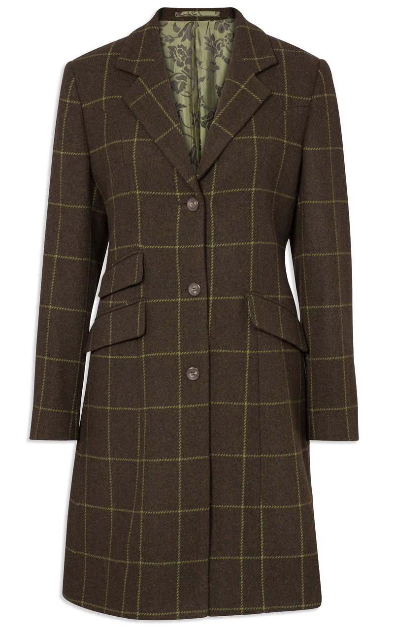 Alan Paine Combrook Mid-Length Tweed Coat | Avocado