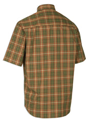 back view Deerhunter mitchell short sleeve shirt in red green check