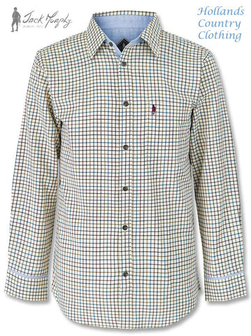 Jack Murphy Monkstown Long Sleeve Shirt in Winterberry Tattersall Check