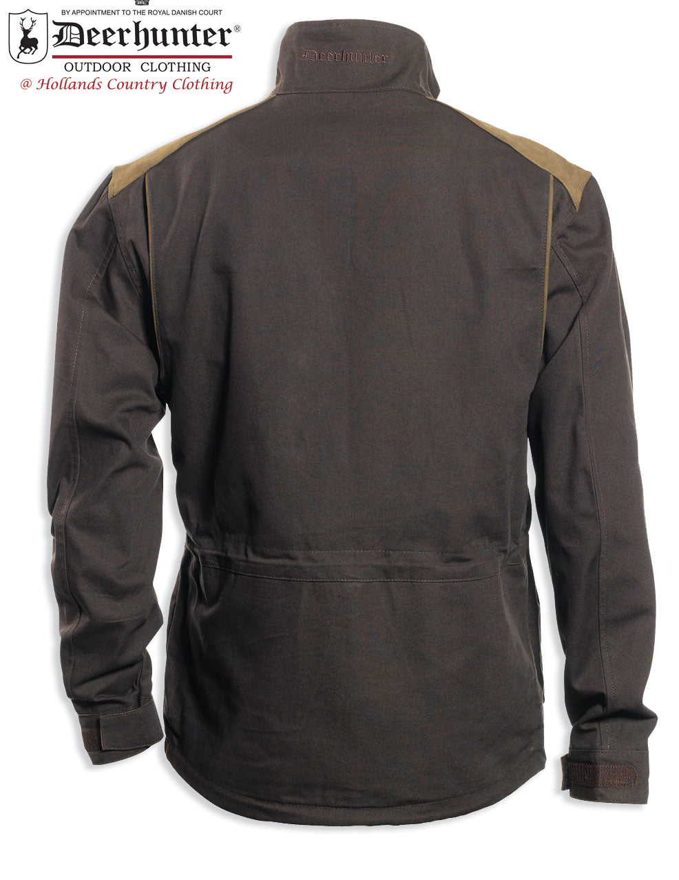 back view Deerhunter Monteria Hunting Jacket with leather shoulder patches