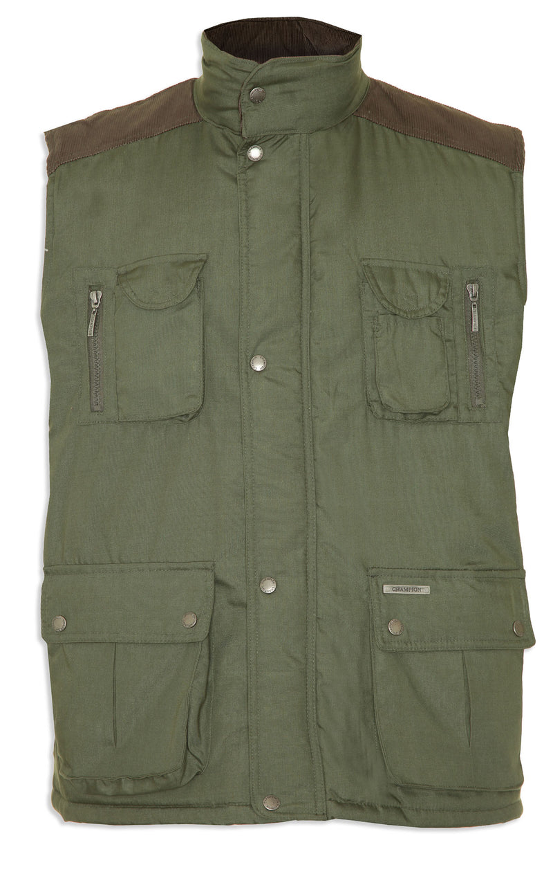olive Champion Exmoor Multi Pocket Padded Body Warmer