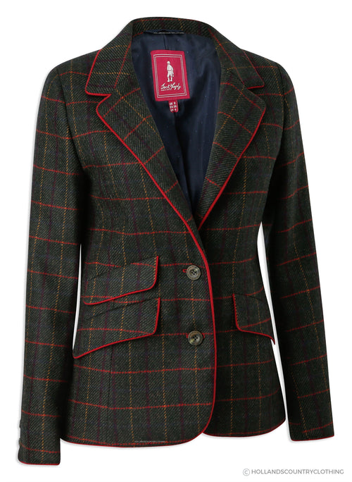 Jack Murphy Blanche Tweed Blazer | Primary Green with Red Piping